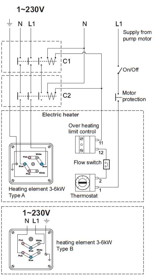 Conexionado monofasico a 220v del calentador insol