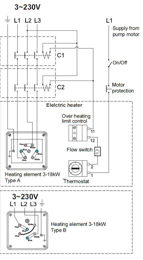 Conexionado trifasico a 220v del calentador insol