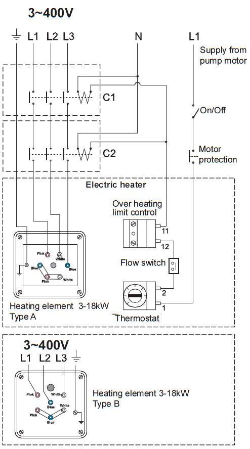 Conexionado trifasico a 400v del calentador insol