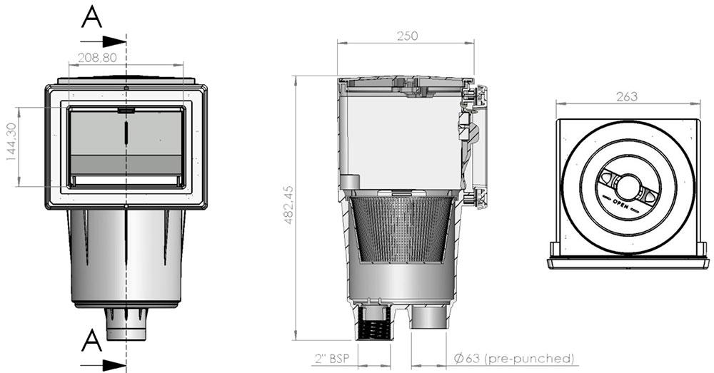 Dimesniones Skimmer SPS 250 Astralpool