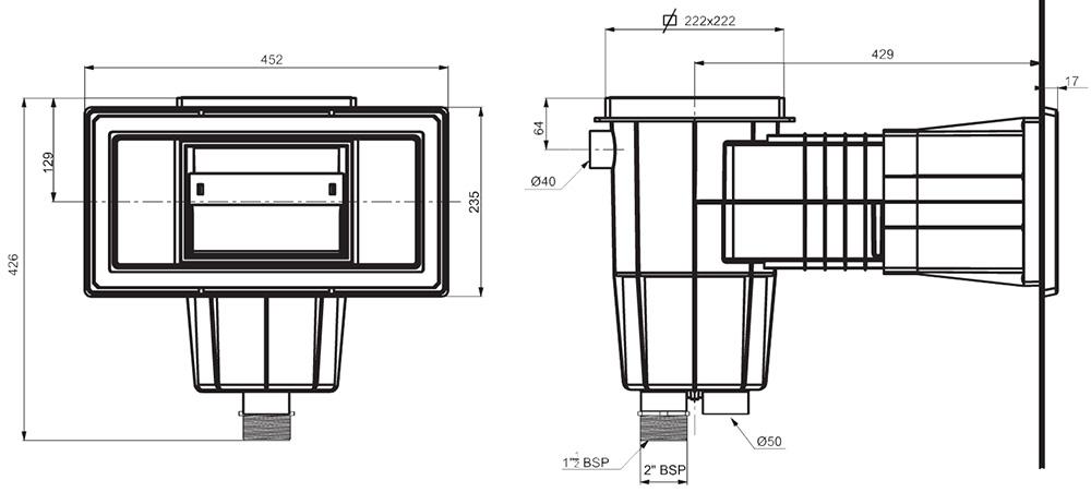 Dimensiones de Skimmer Estándar para piscinas de Liner