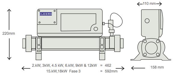 Calentador Elecro InLine Titanio Dimensiones