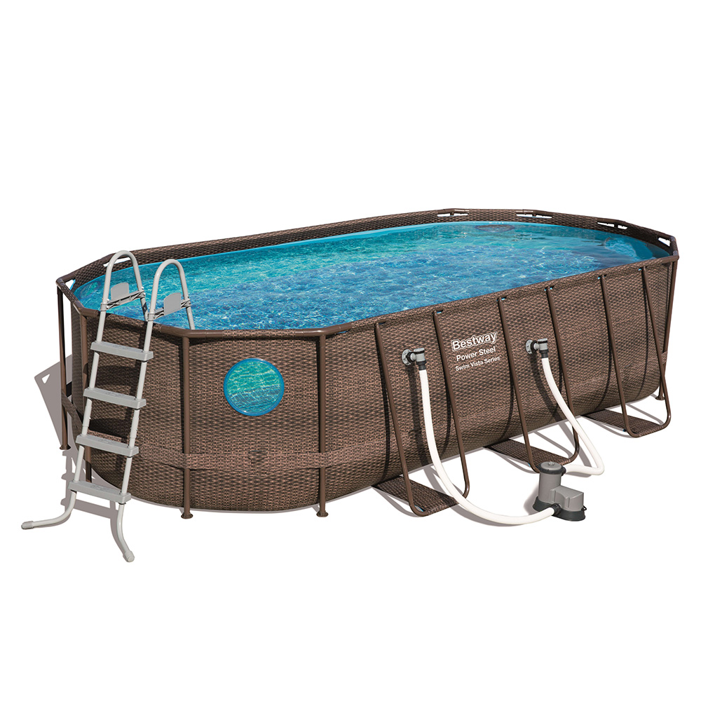 Piscina Power Steel Oval Rattan 549x274x122 cm