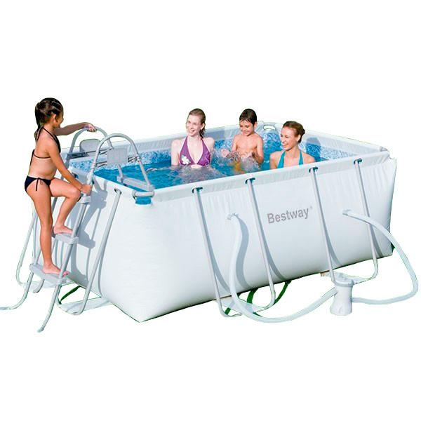 Piscina bestway power steel 287x201x100 outlet piscinas for Piscina 100 metros portugal