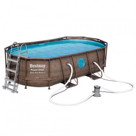 Piscina Power Steel Oval Rattan 427x250x100 cm
