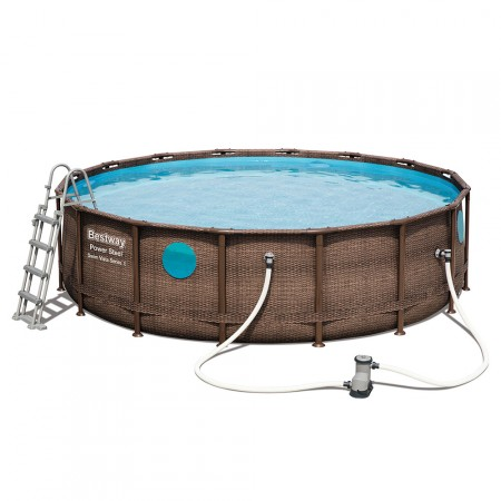 Piscina Power Steel Rattan 427 x 122 con 4 ventanas