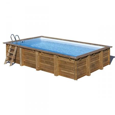 Piscina de madera rectangular Evora Gre