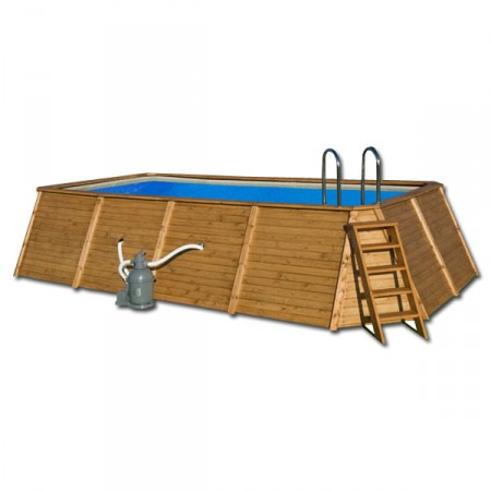 Piscina Madera Rectangular 655 x 390 x 124