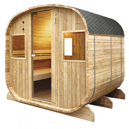 Sauna exterior Barrel Poolstar con techo