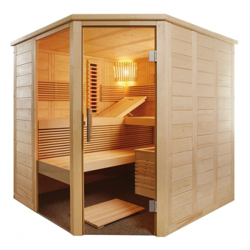 Sauna Alaska Corner Kombi con Estufa e Infrarrojos