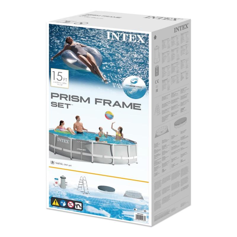 Piscina Intex Prisma Frame Gris Ø457x107cm caixa