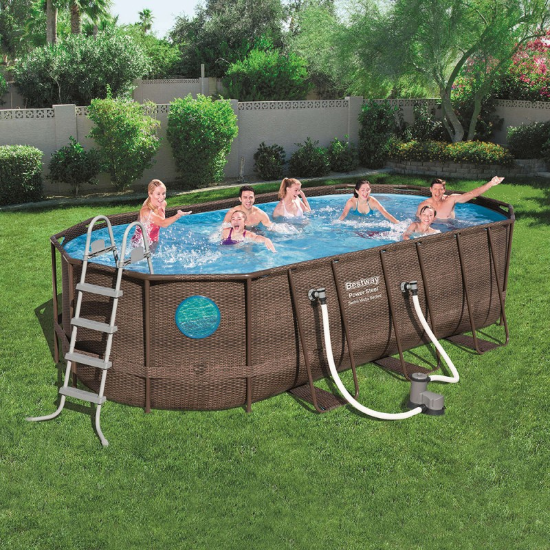 Piscina Power Steel Oval Rattan 549 x 274 x 122 cm ambiente