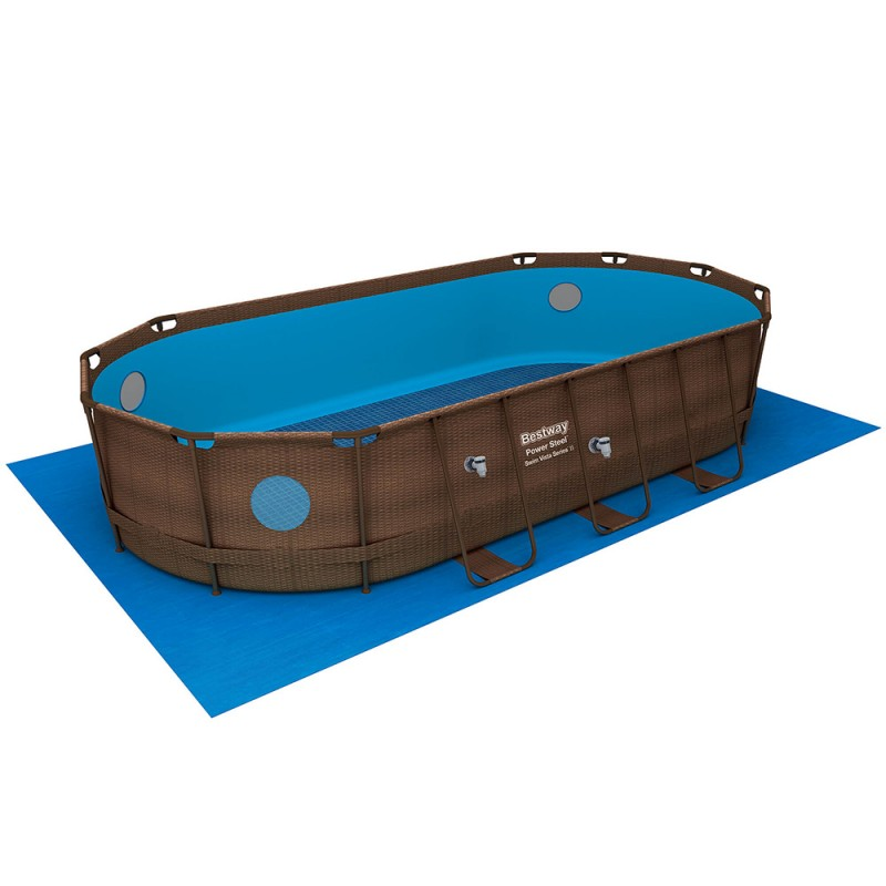 Piscina Power Steel Oval Rattan 549 x 274 x 122 cm tapete chão