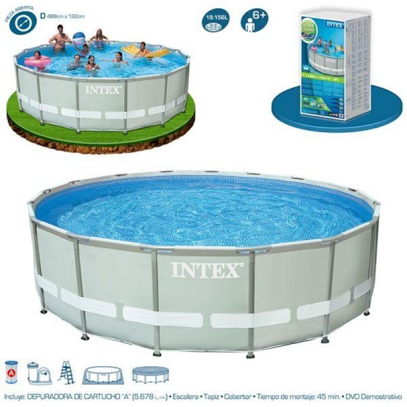 Piscina ultra frame 488 x 122cm intex outlet piscinas for Piscina intex ultra frame