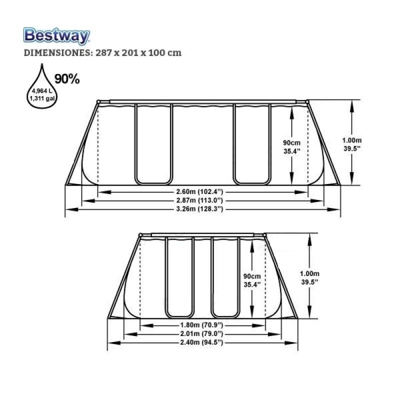 Piscina Bestway Power Steel 287x201x100