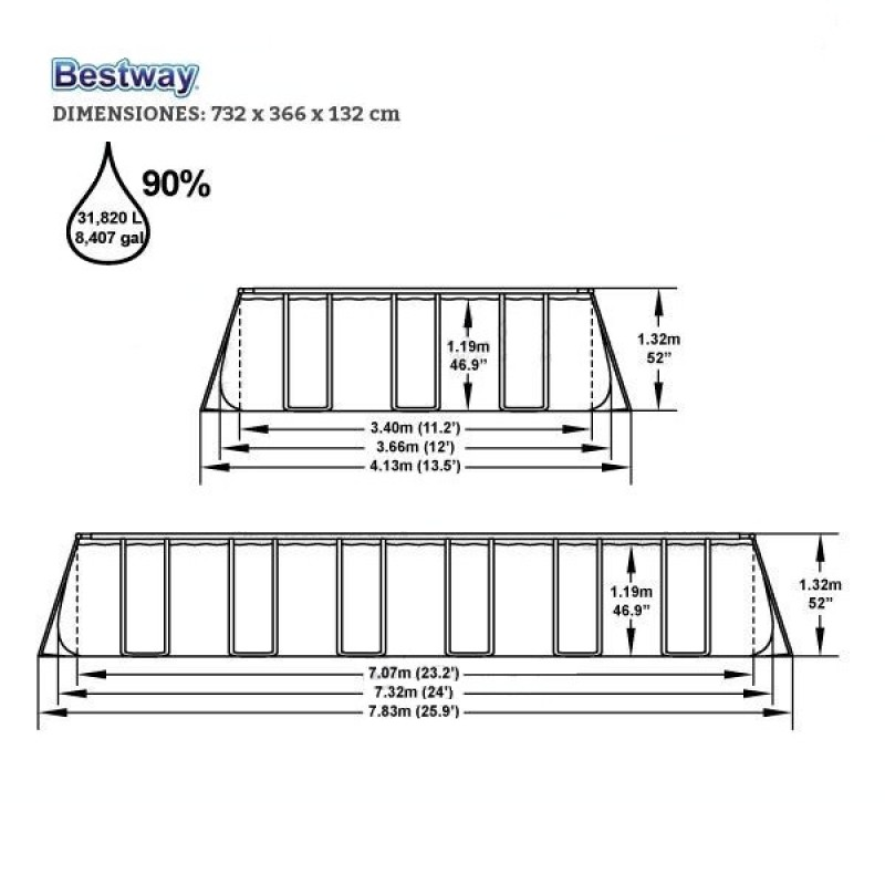 Medidas Piscina Bestway Power Steel 732x366x132